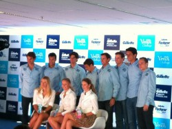 *ADDS* leggy Maria Sharapova, Caroline Wozniacki, Victoria Azarenka @ Gillette Tour press conference, Sao Paolo-12/6/12