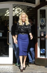 Jenny McCarthy - on the set of Extra in LA 2/12/13