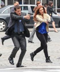 Poppy Montgomery - on the set of 'Unforgettable' in NYC 5/29/13