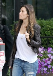 Jessica Biel - out in Boston 8/9/13