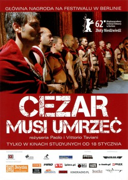 Przód ulotki filmu 'Cezar Musi Umrzeć'