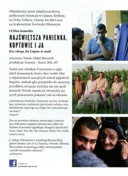 Tył ulotki filmu 'Najświętsza Panienka, Koptowie i Ja'