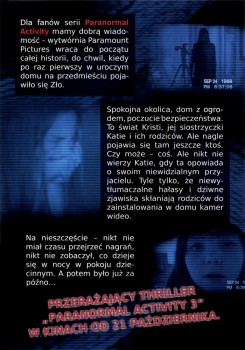 Tył ulotki filmu 'Paranormal Activity 3'