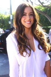 Chloe Bennet - on the set of Extra in LA 9/25/13