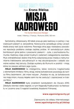 Tył ulotki filmu 'Misja Kadrowego'