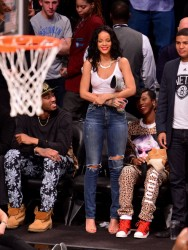 Rihanna At The Brooklyn Nets Vs. Toronto Raptors Game In New York City - April 25, 2014