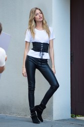 Martha Hunt - On set of a photoshoot in NYC 6/27/17